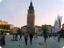 Krakow old town hall tower in market square