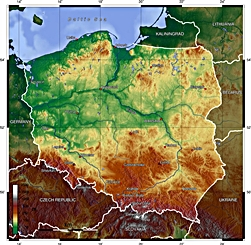 Geography of Poland - Topographic Map of Poland