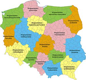 POLSKA mapa woj z powiatami - Map provided by Aotearoa
